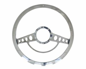 Billet Specialties - Billet Specialties Half Wrap Steering Wheel - Classic - Polished - 3-Spoke - 15.5 in. Diameter