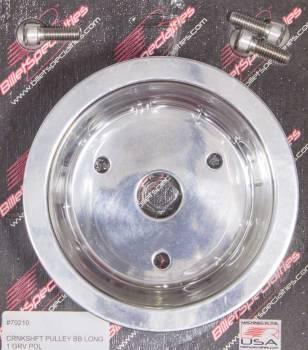 Billet Specialties - Billet Specialties BB Chevy Single Groove Crankshaft Pulley - Polished - V-Belt - BB Chevy