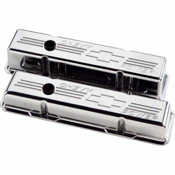 Billet Specialties - Billet Specialties Polished SB Chevy Tall Valve Covers - Chevy Power Logo - SB Chevy - (Set of 2)
