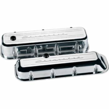 Billet Specialties - Billet Specialties BB Chevy Valve Covers - Stock Height - Polished - Chevy Logo - BB Chevy - (Set of 2)