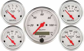 Auto Meter - Auto Meter Arctic White Street Rod Kit - Includes 3-1/8 in. 120 MPH Electric Speedometer