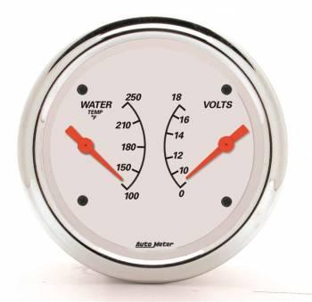 "Auto Meter - Auto Meter 3-3/8"" Artic White Water Temp/ Voltmeter Gauge - 100-250 °F/8-18V"