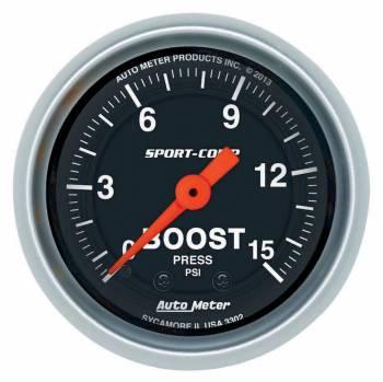 """Auto Meter - Auto Meter 2-1/16"""" Sport Comp Boost Gauge - 0-15 PSI"""