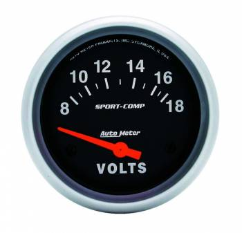 Auto Meter - Auto Meter Sport-Comp Electric Voltmeter Gauge - 8-18 Volts