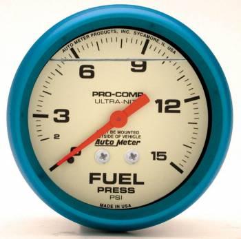 "Auto Meter - Auto Meter 2-5/8"" Ultra-Nite F/P Gauge - 0-15 PSI"
