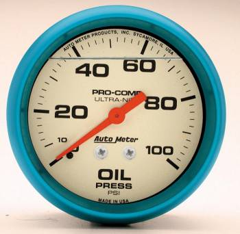 "Auto Meter - Auto Meter 2-5/8"" Ultra-Nite Oil Pressure Gauge - 0-100 psi"