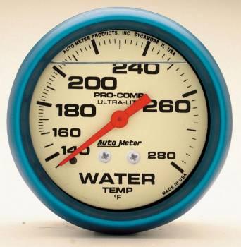 "Auto Meter - Auto Meter 2-5/8"" Ultra-Nite Water Temp Gauge - 140-280"