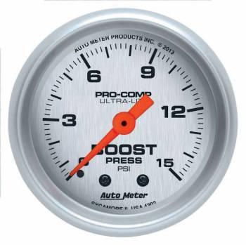 """Auto Meter - Auto Meter 2-1/16"""" Ultra-Lite Boost Gauge - 0-15 PSI"""