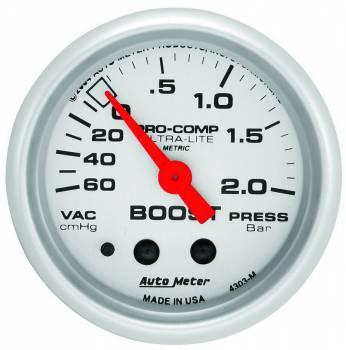 Auto Meter - Auto Meter Ultra-Lite Mechanical Boost / Vacuum Gauge - 2-1/16 in.