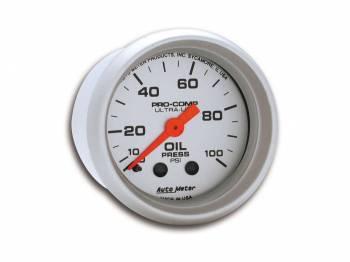 "Auto Meter - Auto Meter Mini Ultra-Lite Oil Pressure Gauge - 2-1/16"" - 0-100 PSI"