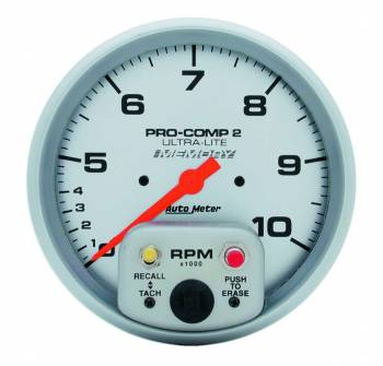 "Auto Meter - Auto Meter 10,000 RPM Ultra-Lite 5"" In-Dash Dual Range Tachometer w/ Peak RPM Memory and Expanded RPM Racing Range"