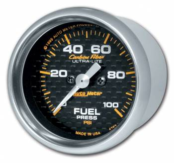 "Auto Meter - Auto Meter Carbon Fiber Electric Fuel Pressure Gauge - 2-1/16"" - 0-100 PSI"