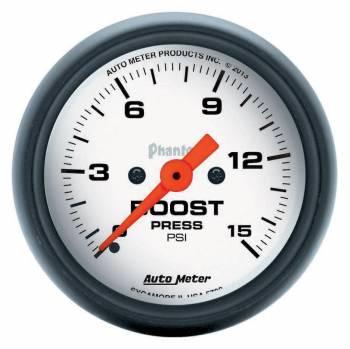 """Auto Meter - Auto Meter 2-1/16"""" Phantom Boost Gauge - 0-15 PSI"""