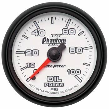"Auto Meter - Auto Meter 2-1/16"" Phantom II Oil Pressure Gauge - 0-100 PSI"