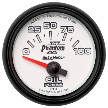 "Auto Meter - Auto Meter 2-1/16"" Phantom II Electric Oil Pressure Gauge - 0-100 PSI"