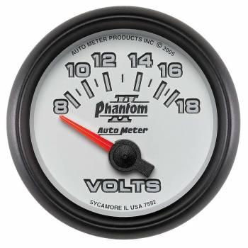 """Auto Meter - Auto Meter 2-1/16"""" Phantom II Electric Voltmeter - 8-18 Volts"""