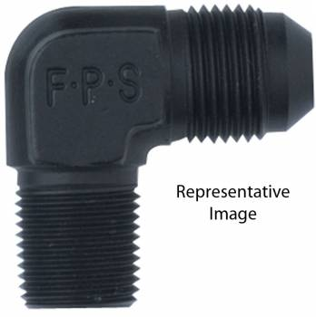 "Fragola Performance Systems - Fragola Aluminum AN to NPT 90° Adapter - Black -08 AN to 3/8"" NPT"