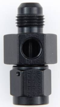 "Fragola Performance Systems - Fragola Aluminum Gauge Adapter - Black -06 AN Male x -06 AN Female - 1/8"" NPT Port On Side"