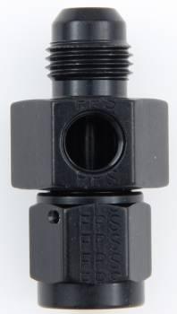 "Fragola Performance Systems - Fragola Aluminum Gauge Adapter - Black -06 AN Male x -06 AN Female - 1/8"" NPT Port On Side"