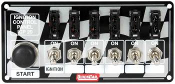 QuickCar Racing Products - QuickCar ICP20 Ignition Race Panel - Ignition Switch - Start Switch w/ 5-Accessory Switches - ATC Fused