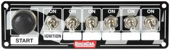 QuickCar Racing Products - QuickCar ICP20.5 Ignition Race Panel - Ignition Switch w/ Start Switch & 5 Accessory Switches