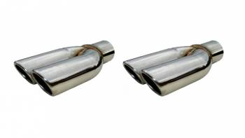 "Pypes Performance Exhaust - Pypes Performance Exhaust 2.5"" Splitter Tip w/Rol led Edge Pair Polished"