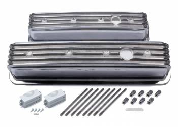 Mr. Gasket - Mr. Gasket SBC Cast Alm Valve Cover Set Finned Style Pol.