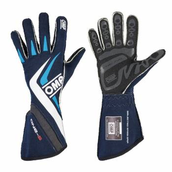 OMP Racing - OMP One-S Gloves Navy - Blue/Cyan - X-Large