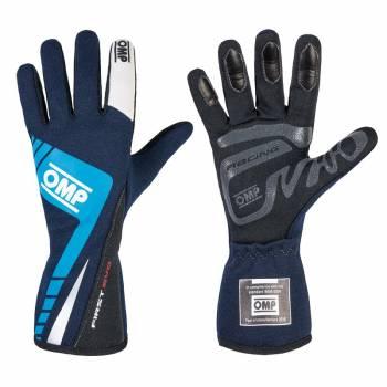 OMP Racing - OMP First Evo Gloves - Blue/Cyan  - Medium