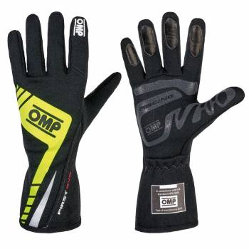 OMP Racing - OMP First Evo Gloves - Black/Yellow - Large