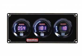 QuickCar Racing Products - QuickCar Digital 2-1 Gauge Panel OP/WT w/Tach