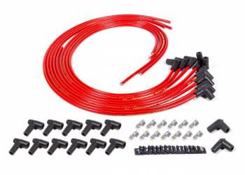 Fuel Injection Enterprises - FIE Sprintmag Spark Plug Wire Set - Suppression Core - 8.2 mm - Red - 90 Degree Plug Boots - HEI Style - Cut to Fit - V8