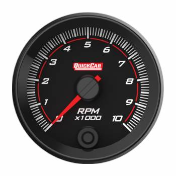"""QuickCar Racing Products - QuickCar Redline Tachometer - Multi-Recall - 10000 RPM - Electric - Analog - 2-5/8"""" - Memory - Black Face"""