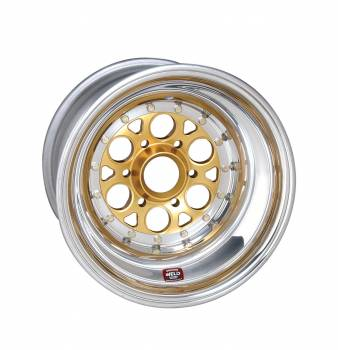 """Weld Racing - Weld Magnum Sprint Wheel - 6-Pin -15"""" x 12"""" - 7"""" Back Spacing - Aluminum - Polished - Gold Center"""