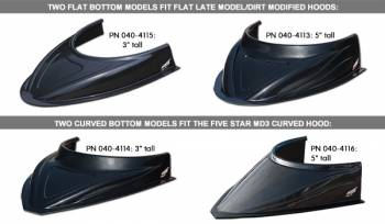 "Five Star Race Car Bodies - Five Star MD3 Hood Scoop - 3"" Tall - Curved - Carbon Fiber Look"