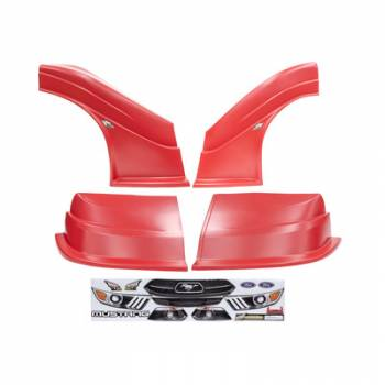 Five Star Race Car Bodies - Fivestar MD3 Evolution Nose and Fender Combo Kit - Mustang - Red (Flat RS Fender)