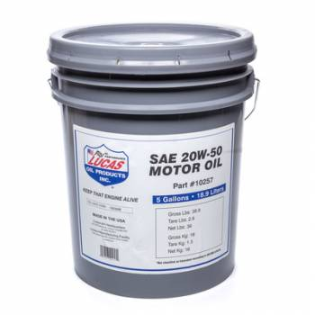 Lucas Oil Products - Lucas Oil Products SAE 20W-50 Plus Motor Oi l/1x1/5 Gallon Pail