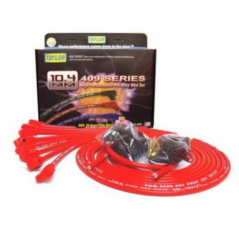 """Taylor Cable Products - Taylor """"409"""" Pro Race Universal Spark Plug Wire Set - 10.4mm Diameter - Red - 90 Plug Boots - Spiro-Wound Conductor - 8 Cylinder Applications"""