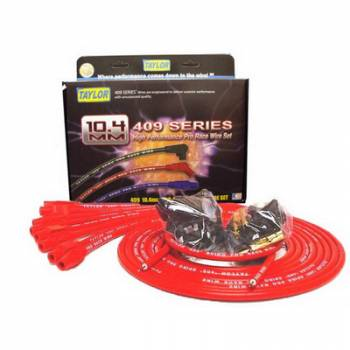 """Taylor Cable Products - Taylor """"409"""" Pro Race Universal Spark Plug Wire Set - 10.4mm Diameter - Red - 180 Plug Boots - Spiro-Wound Conductor - 8 Cylinder Applications"""