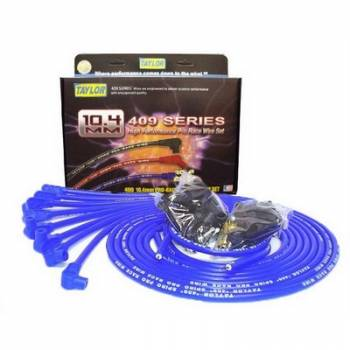 """Taylor Cable Products - Taylor """"409"""" Pro Race Universal Spark Plug Wire Set - 10.4mm Diameter - Blue - 90 Plug Boots - Spiro-Wound Conductor - 8 Cylinder Applications"""