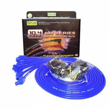 "Taylor Cable Products - Taylor ""409"" Pro Race Universal Spark Plug Wire Set - 10.4mm Diameter - Blue - 135 Plug Boots - Spiro-Wound Conductor - 8 Cylinder Applications"