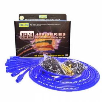 "Taylor Cable Products - Taylor ""409"" Pro Race Universal Spark Plug Wire Set - 10.4mm Diameter - Blue - 180 Plug Boots - Spiro-Wound Conductor - 8 Cylinder Applications"