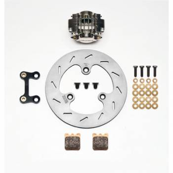 Wilwood Engineering - Wilwood Dynapro Single Left Front Brake Kit - Nickel Plate Caliper - Slotted Rotor