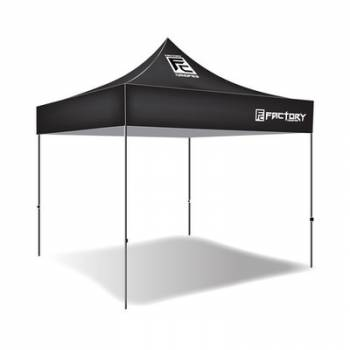 Factory Canopies - Factory Canopies Pro Grade Canopy - 10 x 10 Ft. - Fire / Water Resistant Black Fabric - Aluminum - White Anodized Frame