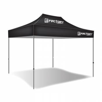 Factory Canopies - Factory Canopies Pro Grade Canopy - 10 x 15 Ft. - Fire / Water Resistant Black Fabric - Aluminum - White Anodized Frame