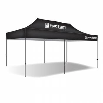 Factory Canopies - Factory Canopies Pro Grade Canopy - 10 x 20 Ft. - Fire / Water Resistant Black Fabric - Aluminum - White Anodized Frame
