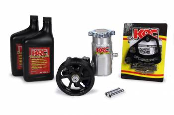 """KRC Power Steering - KRC 13.5cc Ultra High Volume Cast Iron Power Steering Pump w/ 4.2"""" 6-Rib Serpentine Pulley, Bolt-On Reservoir, 2qts of Fluid and Mount"""