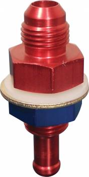 """ATL Racing Fuel Cells - ATL Fuel Outlet Bulkhead Fitting - Straight - 5/16"""" Hose Barb to 6 AN Male - Red Anodized"""