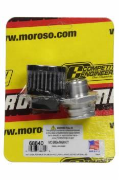 Moroso - Moroso Breather - Screw-In - Round - GM LS Double Tab - Clamp-On Filter - Moroso Logo