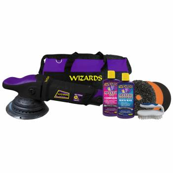 Wizard Products - Wizards 21 Big Throw Polisher - Dual Action - 21 mm - 1-6 Speed - 20 Ft. Cord - Backing Plate/Bag/Brush/Compound/Pads/Wax - Black